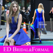 Cara Delevingne Royal Blue Short Abendkleid Herzogin Satin Cocktail Party Kleid vestido de festa curto