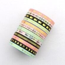 Купить с кэшбэком New 12 pieces 5mm*10m Skinny Foil Gold Slim Washi Tape Cute Design Stationery Adhesive Tape Washi Masking Tape