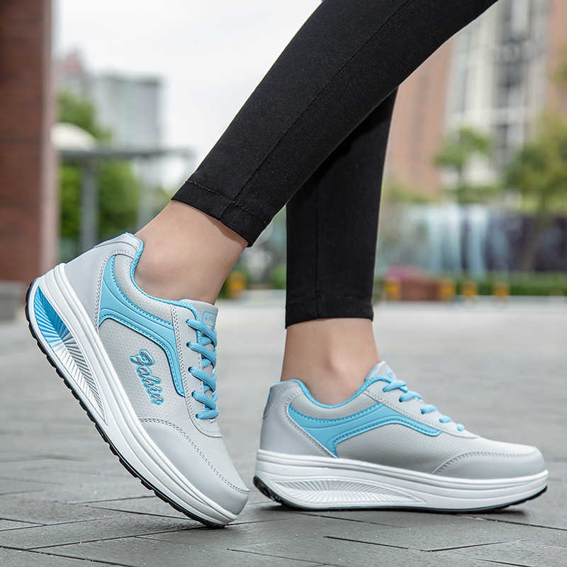ZHENZU 2019 PU cuero mujer Zapatillas Casual zapatos mujer transpirables impermeables cuñas plataforma Vulcanize zapatos tenis feminino