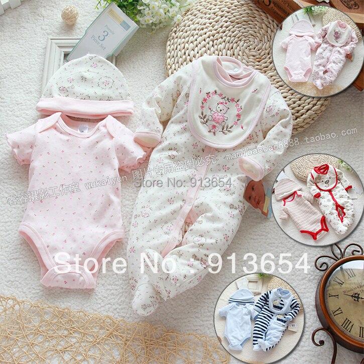 Free Shipping New 2017 Spring Autumn Baby Clothing Infant Set Gift Baby Jumpsuits Newborn Romper 4pcs Set (2pcs Romper +hat Bib)