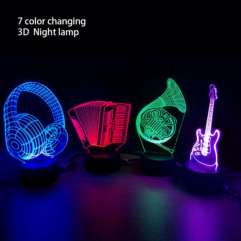 Hot 3D Lamp Piano Accordion Saxophone Guitar Horn LED Table Night Light Multicolor Carto ...