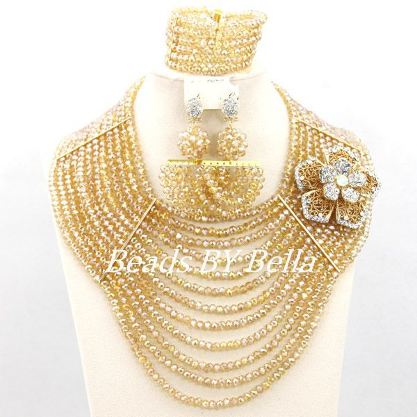 Fabulous African Wedding Party Beads Gold Crystal Beads Necklace Women Chunky Layered Jewelry Set Fashion Free Shipping ABY092 trendy letter beads layered necklace for women