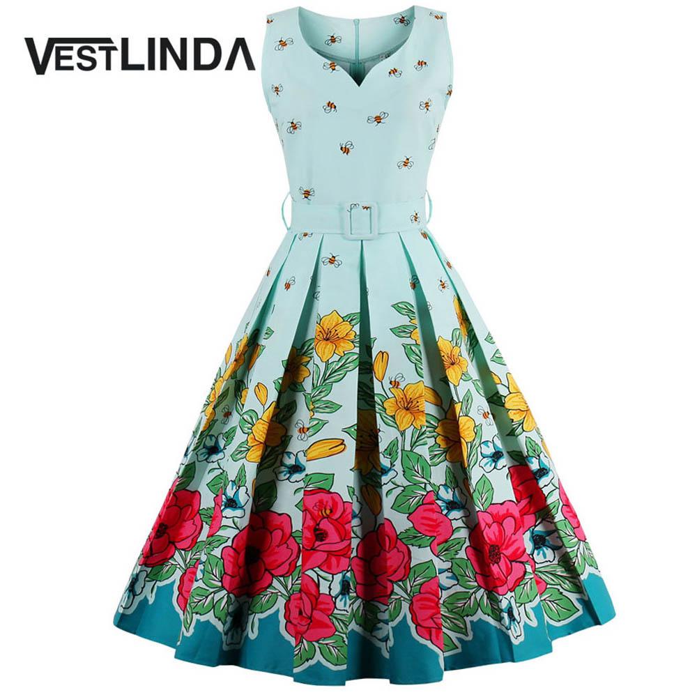 VESTLINDA Midi Floral Print Pin Up Dress Women Vintage Party Dresses with Belt A-Line Sleeveless Vestidos Plus Size Summer Dress 1
