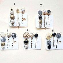 3pcs/Set Korea Women Fashion Imitiation Pearl Hair Clips Accessories Pins Button Metal Hairpin Barrette Styling Tool