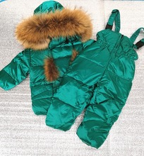 Детская верхняя одежда на температуру до-30 градусов, пальто из натурального меха енота, пуховик для мальчиков, белое зимнее пальто на утином пуху для девочек, детский зимний комбинезон с капюшоном
