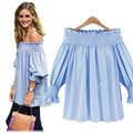 5XL Big  Size Off The Shoulder Striped Tops 2016  Hot  Sale Slash  Neck T-shirts For Women Plus Size Casual Female T-shirt