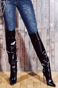 Autumn Winter Boots Wommen Sexy High Heels Pointed Toe Over the Knee Boots Zapatos De Mujer Zipper Black Long Stage Shoes Woman