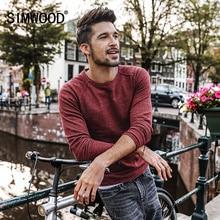 Simwood свитер Для мужчин осень 2017 г. новый пуловер Slim Fit Тонкий Для мужчин S трикотажные Свитера мужской Curl низ Высокое качество, Большие размеры MT017003