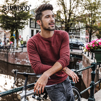 SIMWOOD Sweater Men 2017 Autumn New Pullover Slim Fit Thin Mens Knitted Sweaters Male Curl Hem