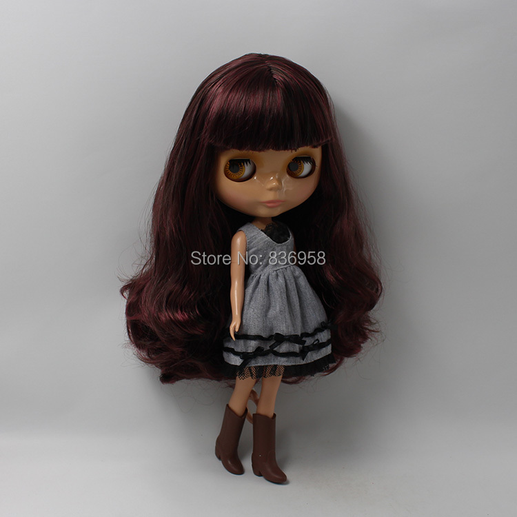 Dark Skin Nude Doll For Series No.BL12532950 with bang WINE RED HAIR