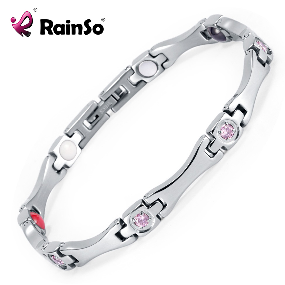 Rainso Elegant Stainless Steel Energy Health Magnetic Bracelet with Magnet Rhinestones Friendship Love Bracelets for Woman