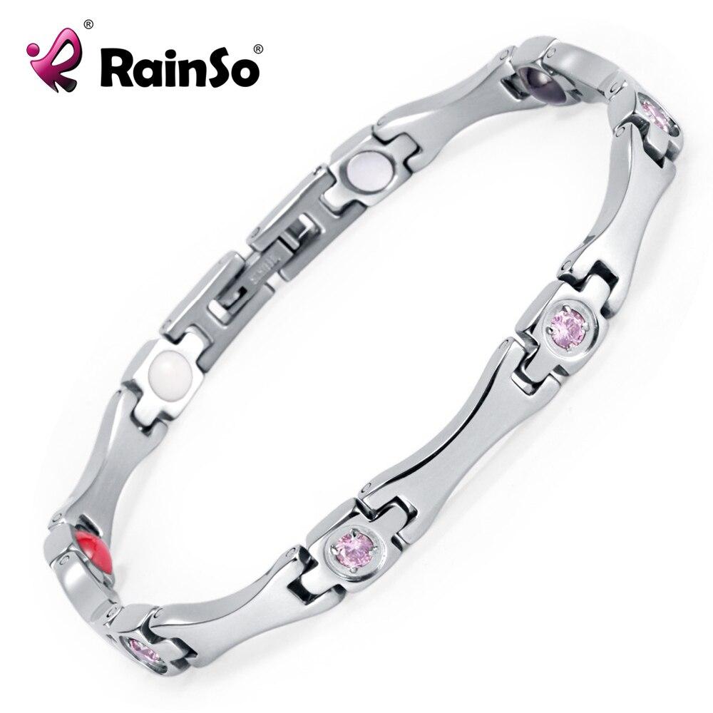 Rainso Elegant Stainless Steel Energy Health Magnetic Bracelet with Magnet Rhinestones Friendship Love Bracelets for Woman