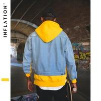 INFLATION Fake Two Pieces Patchwork Hoodie Long Sleeve Hoody Sweatshirts Coat Loose Couple High Street Hoodies 8794W