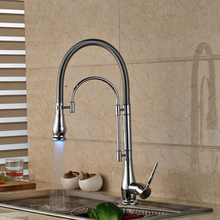LED Color Chrome Finished Kitchen Faucet Single Handle with Bracket Bar LED Light Kichen Mixer Taps