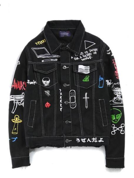 2019  Men Women Hiphop Streetwear Punk Rave Steampunk Motorcycle Cowboy Graffiti Ripped Jacket Outwear Brand Jeans Jacket