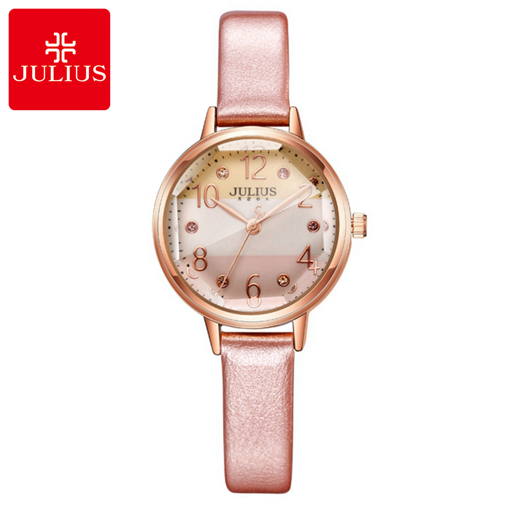 fd9aef70409 NEW Women Colorful Dream Simple Fashion Casual Quartz Watch Pretty Girl  Leather Beautiful Rhinestone Watches Julius Bayan Saat-in Women s Watches  from ...