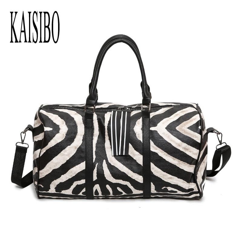 KAISIBO 2017 New Printing Travel bags Zebra-stripe Sofe PU Womens Handbag Fashion Black Travel Handbags S/L