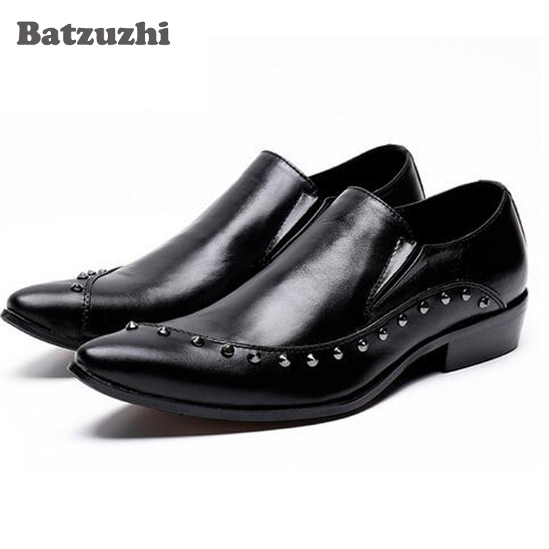 Batzuzhi Handmade Leather Men Dress Shoes Evening Party Wedding Shoes Daily Office Suit Shoes Zapatos Plus size US12 size 37-46