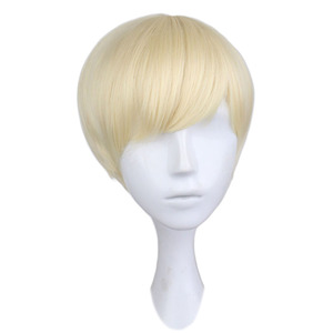 QQXCAIW Short Straight Cosplay Men Boy Party Blonde 30 Cm Synthetic Hair Wigs(China)