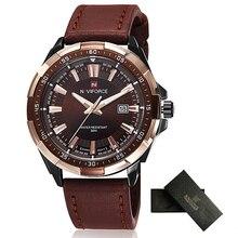 Relojes de Los Hombres Del Deporte Relógio masculino hombres Reloj de Cuarzo Resistente Al Agua Marca NAVIFORCE Reloj Grande de Cuero Del Dial de Oro de Lujo Para Hombre