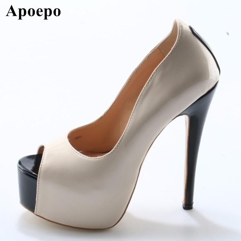 Newest Peep toe Women High Heel Shoes Sexy Platform Pumps Nude Patent Leather Dress Heels Super High Pumps Black Heels Shoes shinny patent leather high platform stiletto buckle strap women sandals party dress nude black lady pumps high heel dress shoes