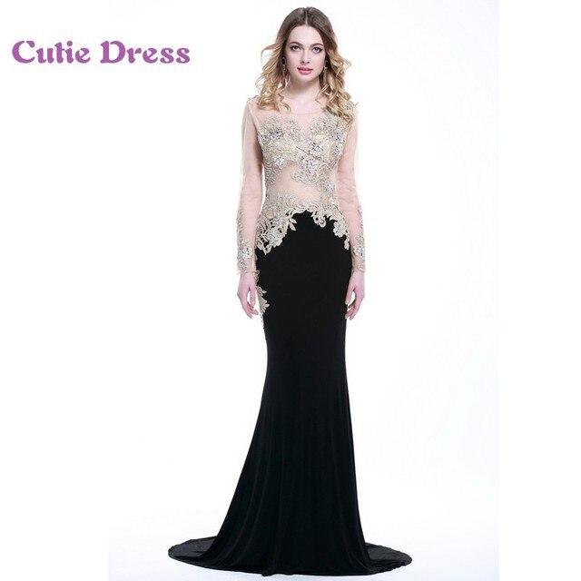 E70 100% Real Model Mermaid Black Long Sleeve Evening Dresses Sheer Top  Appliqued Fitted Formal Gown vestido de festa 20152016 6c8bea36e