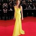 Chiffon amarelo celebrity dress 2017 querida spaghetti strap red carpet vestido até o chão a line prom vestido de noite
