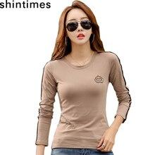 Camiseta de manga larga para Mujer, camiseta bordada de talla grande, Camisetas de otoño e invierno para Mujer 2019
