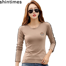 Long Sleeve T Shirt Women Tshirt Embroidery Plus Size T-Shirt Tops Autumn And Winter Tee Femme Camisetas Mujer 2019