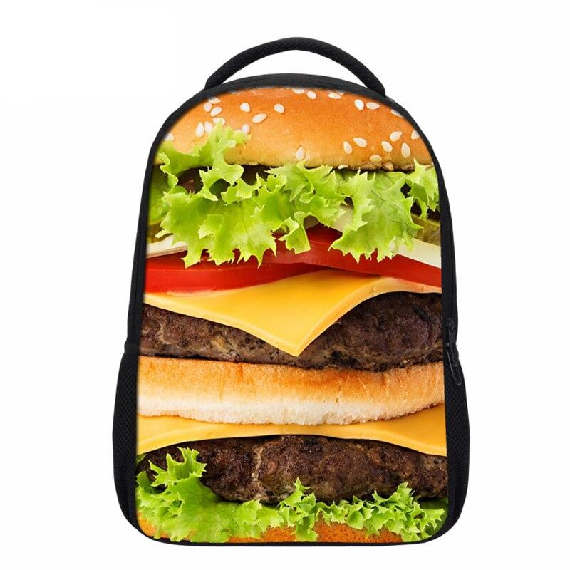 VEEVANV New Food Hamburger Pizza Printing Backpacks For Teenager Girls Boys Fashion Shoulder Bags Kids Children School Backpacks