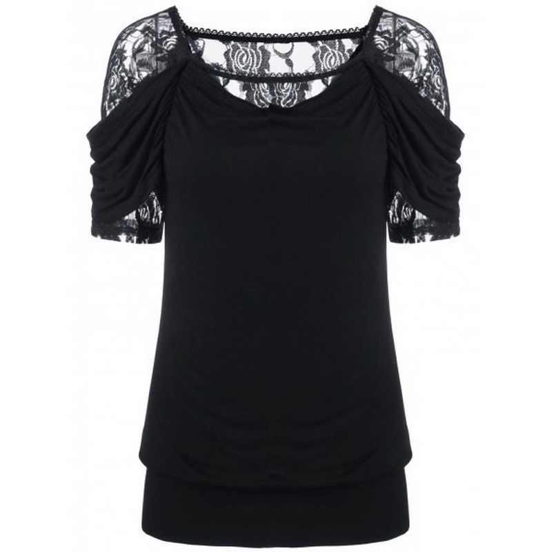2018 летний женский топ с овальным вырезом, хлопковые футболки, топы, женская одежда, кружевная Лоскутная черная футболка