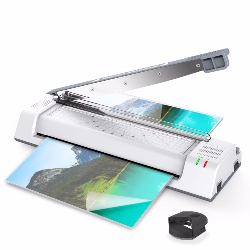 Thermal Pouch Laminator For A3/A4/A6, 2 Roller Fast Warm-up Laminating Machine With Trimmer And Corner Rounder For Home/Office