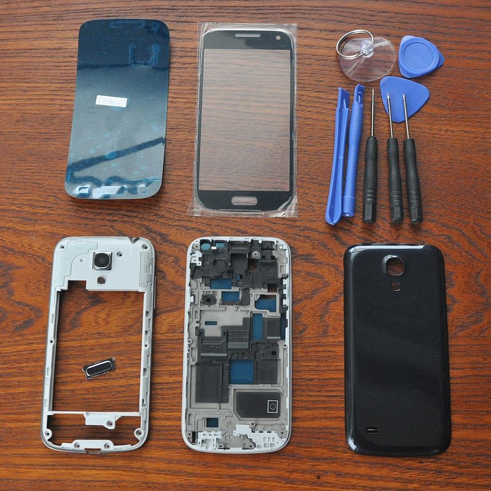 Черный Полный Корпус ремонт крышка Запчасти, наружная Стекло, оригинальный клей, Инструменты, главная Кнопка для Samsung Galaxy S4 SIV Mini i9190 i9195