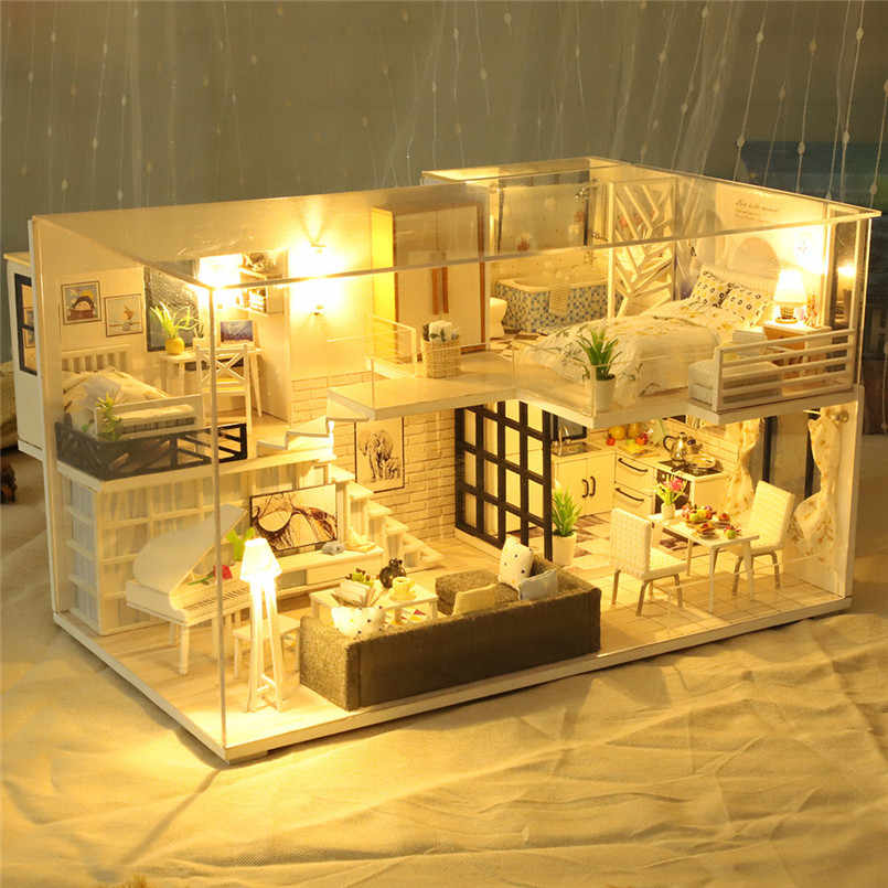 Building model toy 3D Wooden DIY Miniature House Furniture LED House Puzzle Decorate Creative Christmas gift #4j17