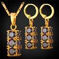 Boda nigeriano Beads Africanos Joyería Conjunto Cristal Cubic Zirconia Colgante Collar Pendientes Chapado En Oro PE1958