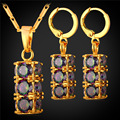 Nigerian Wedding African Beads Jewelry Set Crystal Cubic Zirconia Pendant Necklace Earrings Gold Plated PE1958