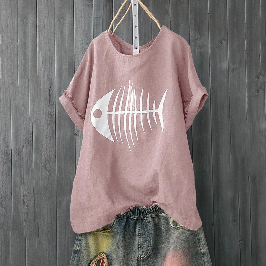 Women Casual T Shirt Fish Bone Print Loose Short Sleeve Shirt Funny Tops tee shirts femme camisetas verano mujer 2019 tshirt