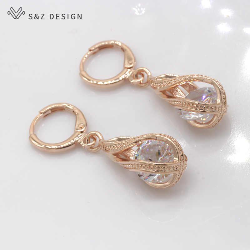 S & z 2019 quente aaa zircon 585 rosa ouro cor gota de água balançar brincos de gota coreano para a moda feminina jóias