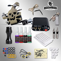 Complete Tattoo kits of 8 wrap coils guns machine 1/6oz black tattoo ink sets power supply disposable needle free shipping