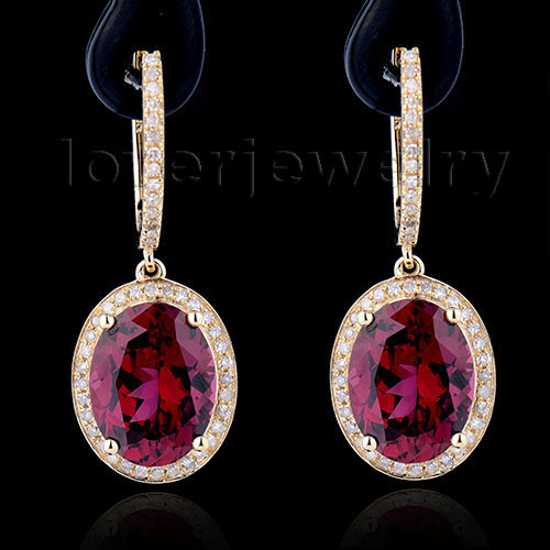 Fantastic Oval 7x9mm Solid 14k Yellow Gold Natural Diamond Red Garnet Earrings Wedding Engagement For