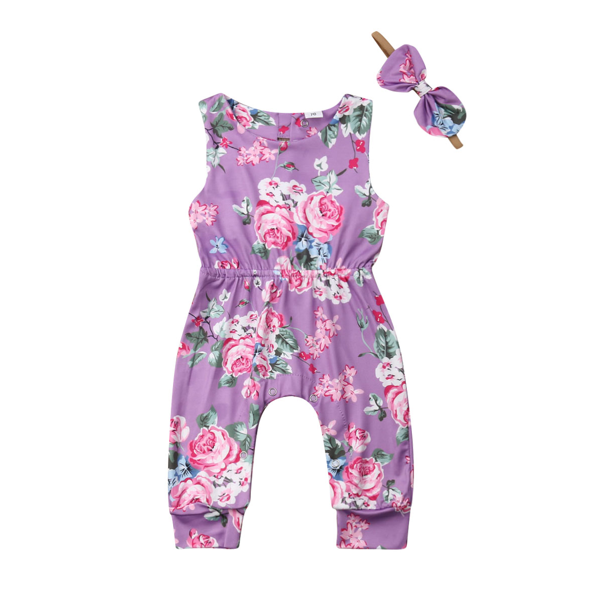 US 0-24M Newborn Infant Baby Girls Floral   Romper   Summer Sleeveless Jumpsuit Outfits Playsuit Clothes with Headband