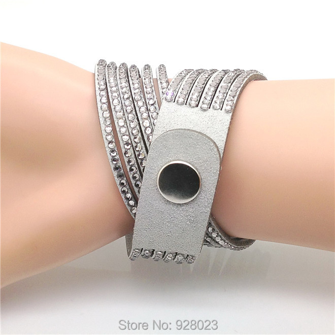Fashion 6 Layer Wrap Bracelets Slake Leather Bracelets With Crystals Couple Jewelry womans bracelet 8