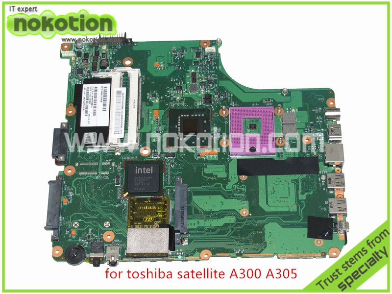 NOKOTION SPS V000125430 Laptop Mainboard For toshiba satellite A300 A305 Motherboard  INTEL GM965 DDR2 k000055760 laptop motherboard for toshiba satellite a200 a205 iskaa la 3481p rev 2a intel gl960 ddr2 without graphcis slot