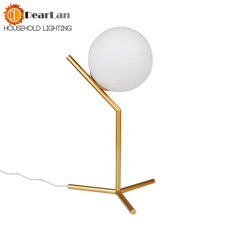 Modern Iron Gold Creative Art Deco Table Lamp Glass Desk Lamp Study/Bedside Table Lighting E27 Milky Round Ball Shade Table Lamp