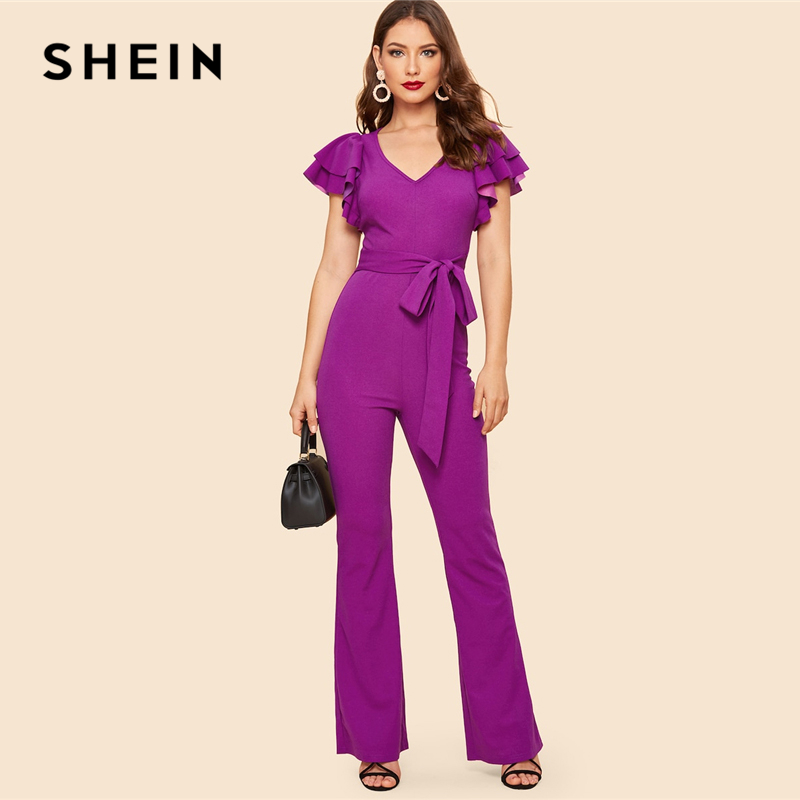 SHEIN Purple Layered Sleeve Belted Flare Leg Plain Jumpsuit 2019 Spring V Neck High Waist Butterfly Sleeve Workwear Jumpsuits 1