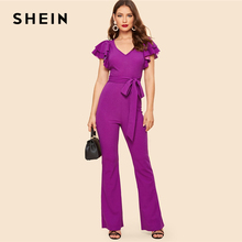 bf81b2b90a773 SHEIN Purple Layered Sleeve Belted Flare Leg Plain Jumpsuit 2019 Spring V  Neck High Waist Butterfly