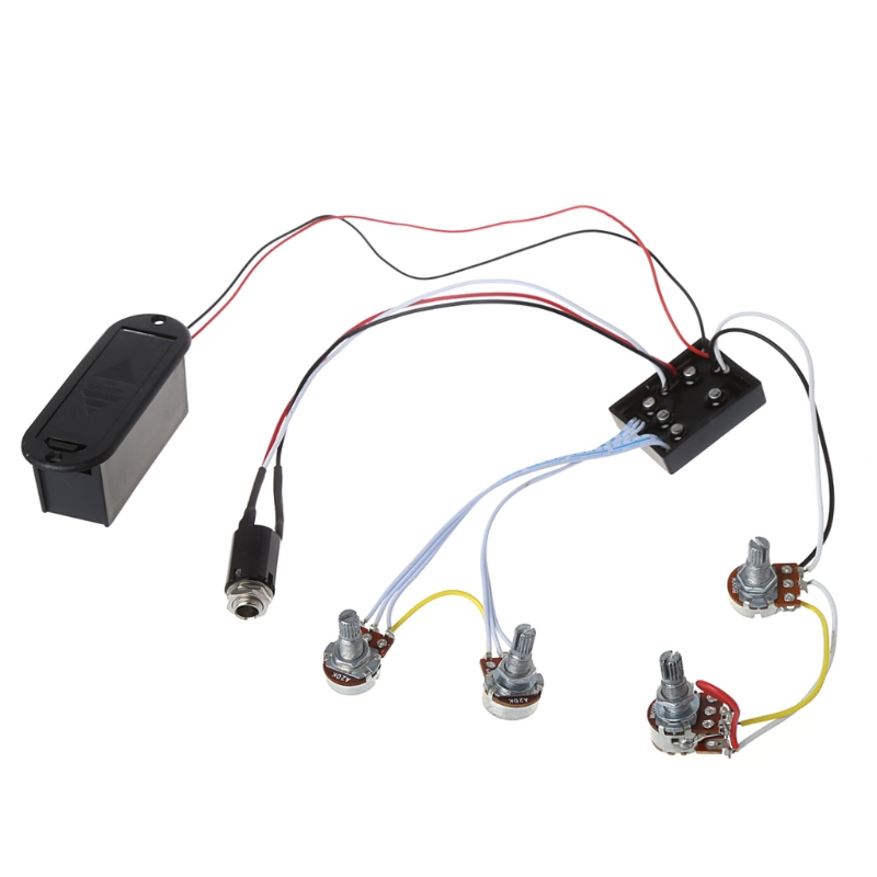 Guitar pickup preamp circuit Accessories 2 Band Active Bass EQ Equalizer Preamp Circuit Pickup Black