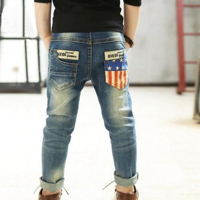 Весна/осень детские брюки качество бренда мальчиков джинсы, дети джинсы, для мальчиков случайные джинсовые брюки, дети рваные джинсы + детские джинсы