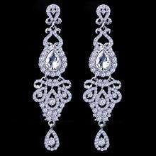 FARLENA Wedding Jewelry Elegant Crystal  Earrings Long women pendant earrings long hanging earrings with stones gifts