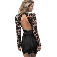 Summer Women Sexy Floral Lace Long Sleeve Mini Dress Lady Deep V Neck Backless Party Elbise